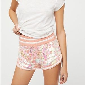 NWT Free People Sz M Relaxed Sequin Shorts